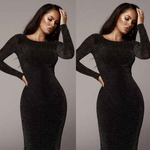 2019 Womens Bandage Bodycon Fluwelen Lange Mouwen Party Midi Dress