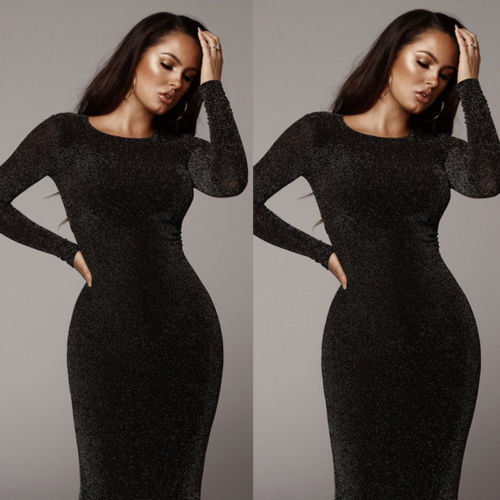 2019 Womens Bandage Bodycon Velvet Long Sleeve Party Midi Dress