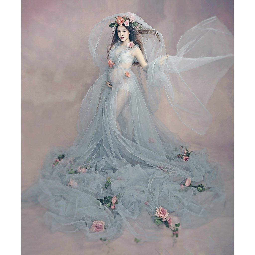 Комплект из 3 предметов для фотосессии для беременных, длинное платье для беременных + вуаль для невесты + повязка на голову с розовым цветко