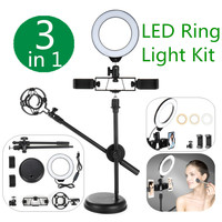 Dimmable Ring Light with Stand & Phone Holder for Live Stream Makeup Led Camera Ringlight Lamp for Video Photography