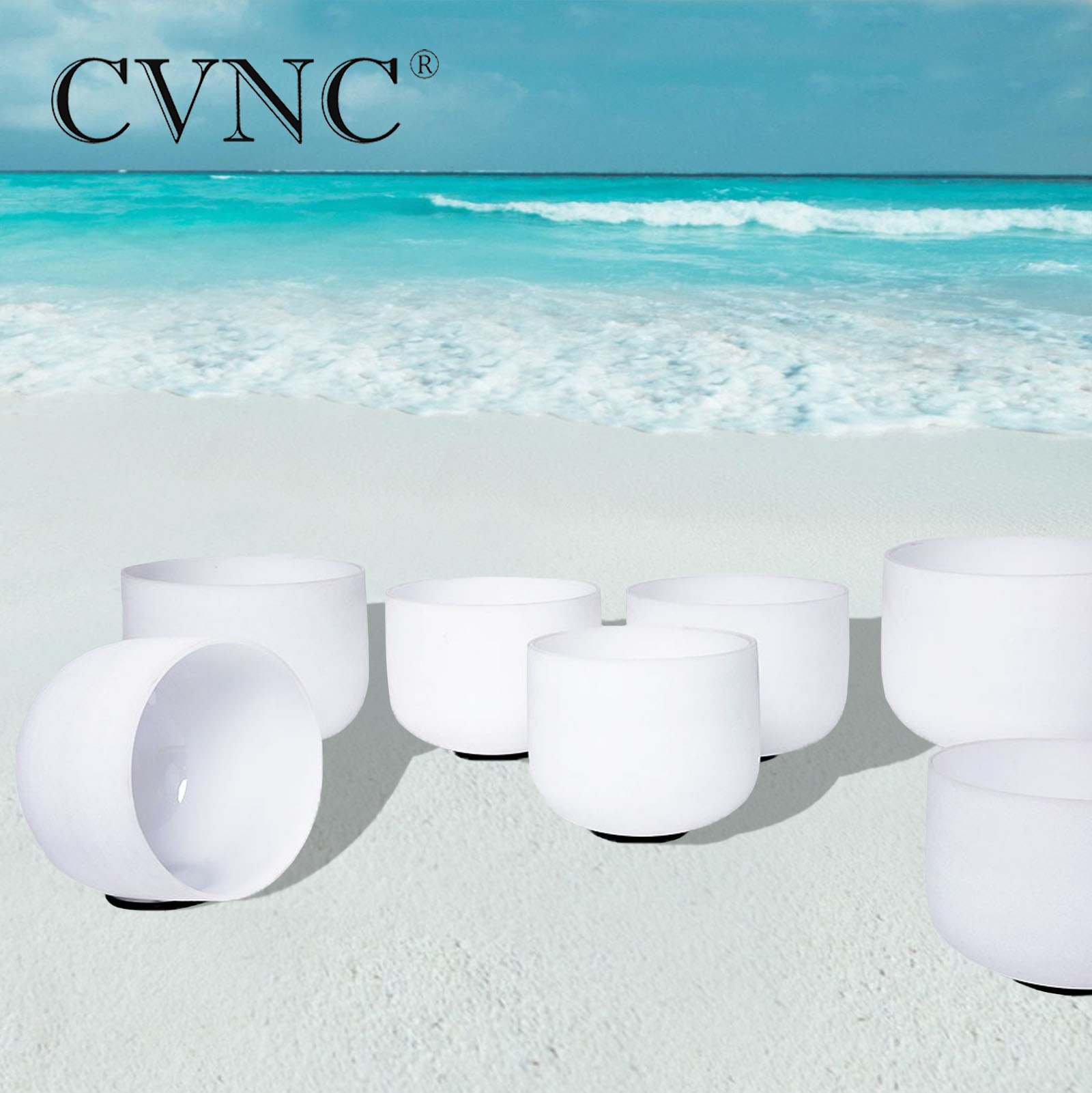 CVNC 432Hz o 440Hz 7 -14 Chakra sintonizado CDEFGAB conjunto de 7 piezas de cuarzo esmerilado cuencos de cristal para cantar con mallas