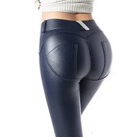 sexy Women Wet Look Stretchy Peach butt leggings Faux Leather Skinny Pencil Trousers high waist 3XL plus size exercise Pants
