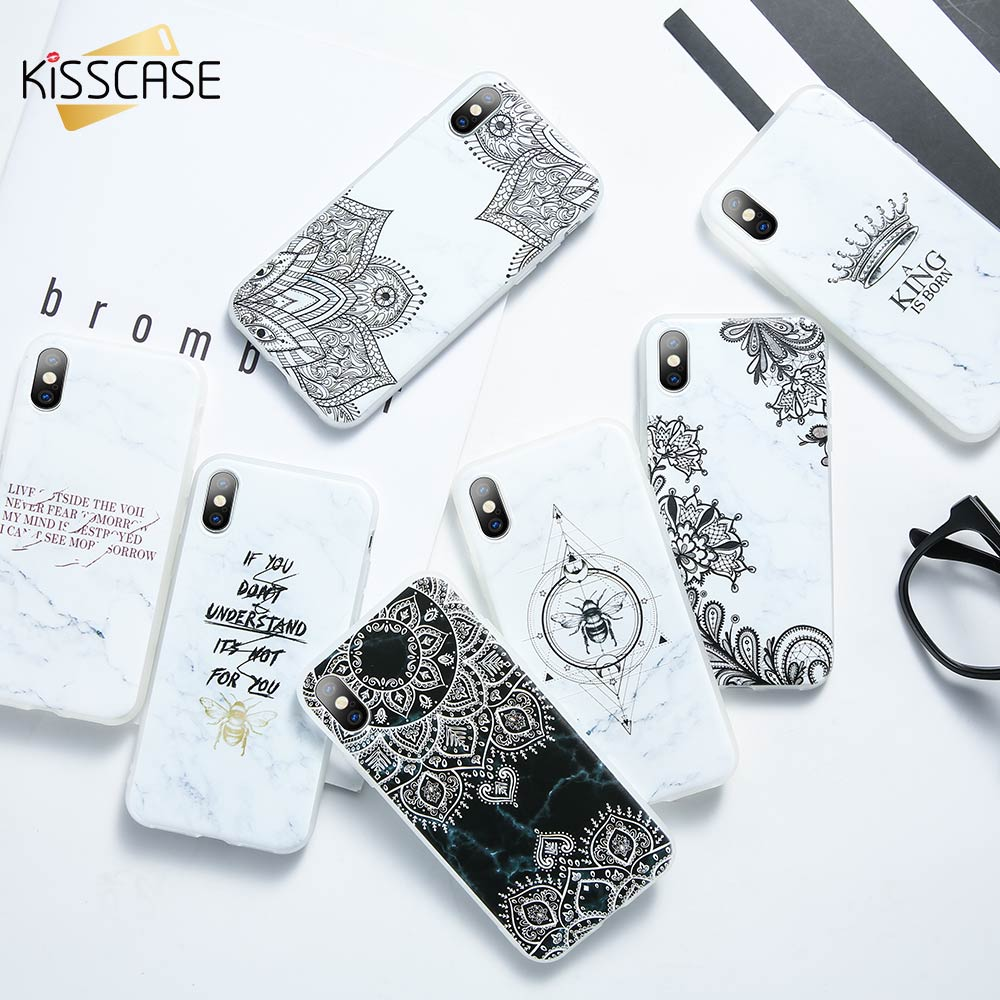 KISSCASE Simple Marble Phone Case for iPhone X XS Max XR Silicone 3D Emboss Back 7 8 6 6s Plus Cover Fundas Capa