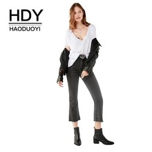 HDY Haoduoyi Street Style Simple Fashion Commuting Coat Sexy V-neck Solid Color Short Sleeve Easy To Wear New Arrival T-shirt