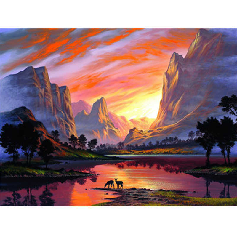 Painting By Numbers Art Paint By Number Mountain Sunset Decorative Manual Digital Painting Coloring Diy Draw Picture