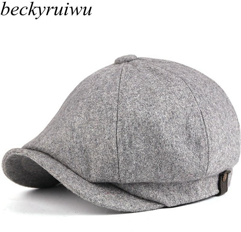 Hat Peaked-Cap Wool Beret Newsboy Big-Size Fitted Woman for Men Felt Octagonal XL