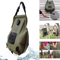 Portable 20L Army green Outdoor Bathing Bag Camping Solar Hot Water 0.55kg Water Storage Bag