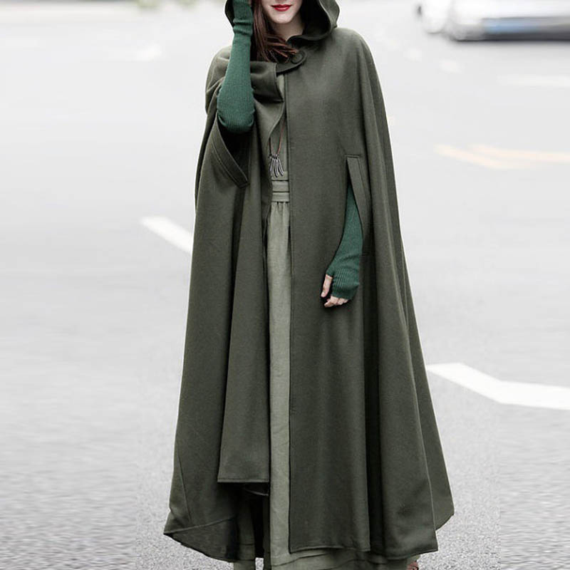 New ZANZEA Cosplay Novel Shawl Button Open Front Long Hooded Outwear Women Winter Casual Solid Brief Stylish Cocktail Party Coat