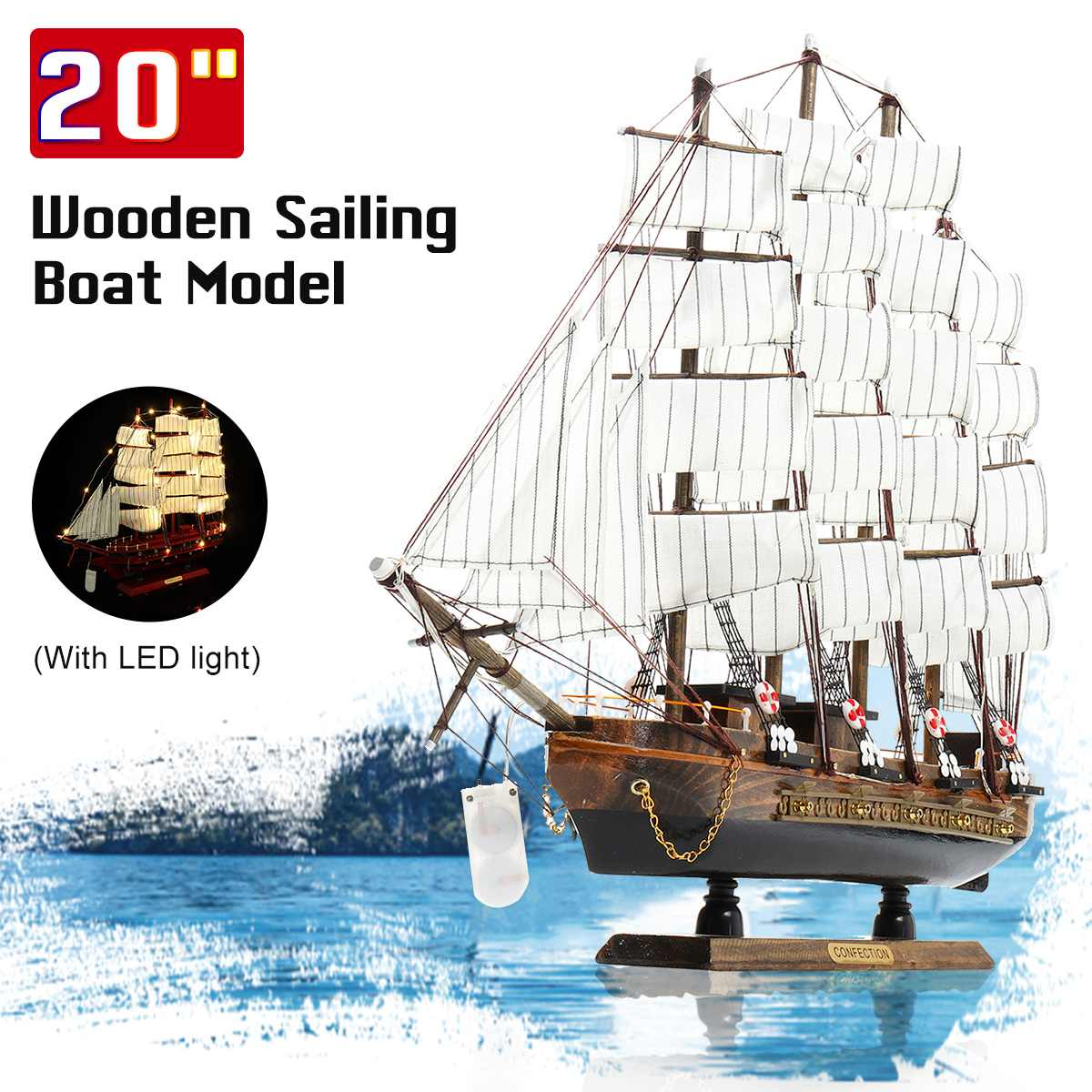 20'' Wooden Wood Sailboat Ship With LED Light Kits Home DIY Model Home Decoration Boat Mediterranean Sea Style Gift Toy For Kids