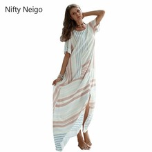 Nifty Neigo Bohemian Women Maxi Dress Striped Loose Split Summer Beach Wear