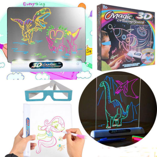 3D Effect Creative Magic Drawing Board Kid Toys Boys Girls Painting Pen 3D Glass Whiteboard