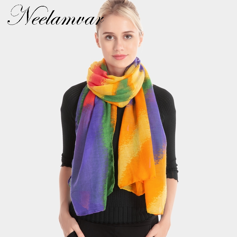 Neelamvar Scarf Women Winter Cachecol European And American Style colorful Fringe Scarves Long Shawl echarpes wholesale