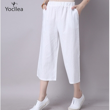 Summer Casual Pants women Cotton Linen Wide leg Pants Solid Plus size Calf-Length Pants Women Loose Elastic Waist Trousers YL255 cheap Broadcloth Pleated YOCLLEA Pockets
