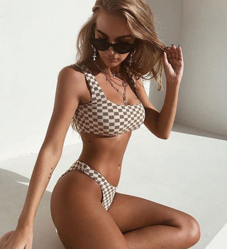 Women Bandage Bikini Push-up Padded Bra Swimsuit Bathing Suit 2pcs Set Swimwear Plaid Swimming Suit 4