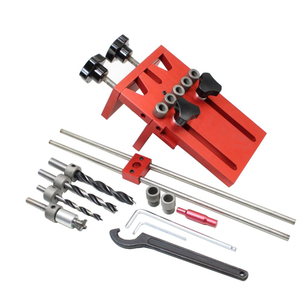 HLZS-Dowelling Jig for Furniture Fast Connecting Cam Fitting 3 In 1 Woodworking Drill Guide Kit Locator