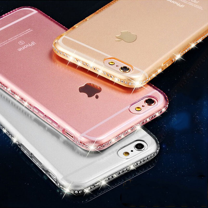 Clear Luxury Bling Glitter Diamond Soft TPU Crystal Phone Case For iPhone 5 5S 5SE 6 6S 7 Plus Transparent Silicone Back Cover visa
