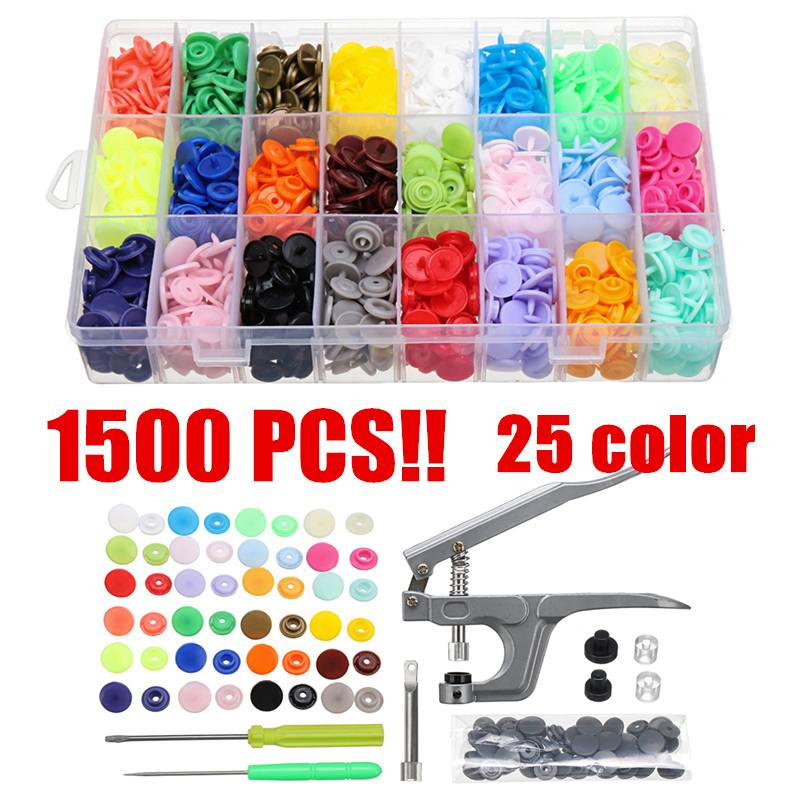 T5 Buttons Fastener 1500pcs 25 Color Resin Press Stud Snap With Pliers Screw Driver Tool DIY Baby Clothing Plastic Buttons Set