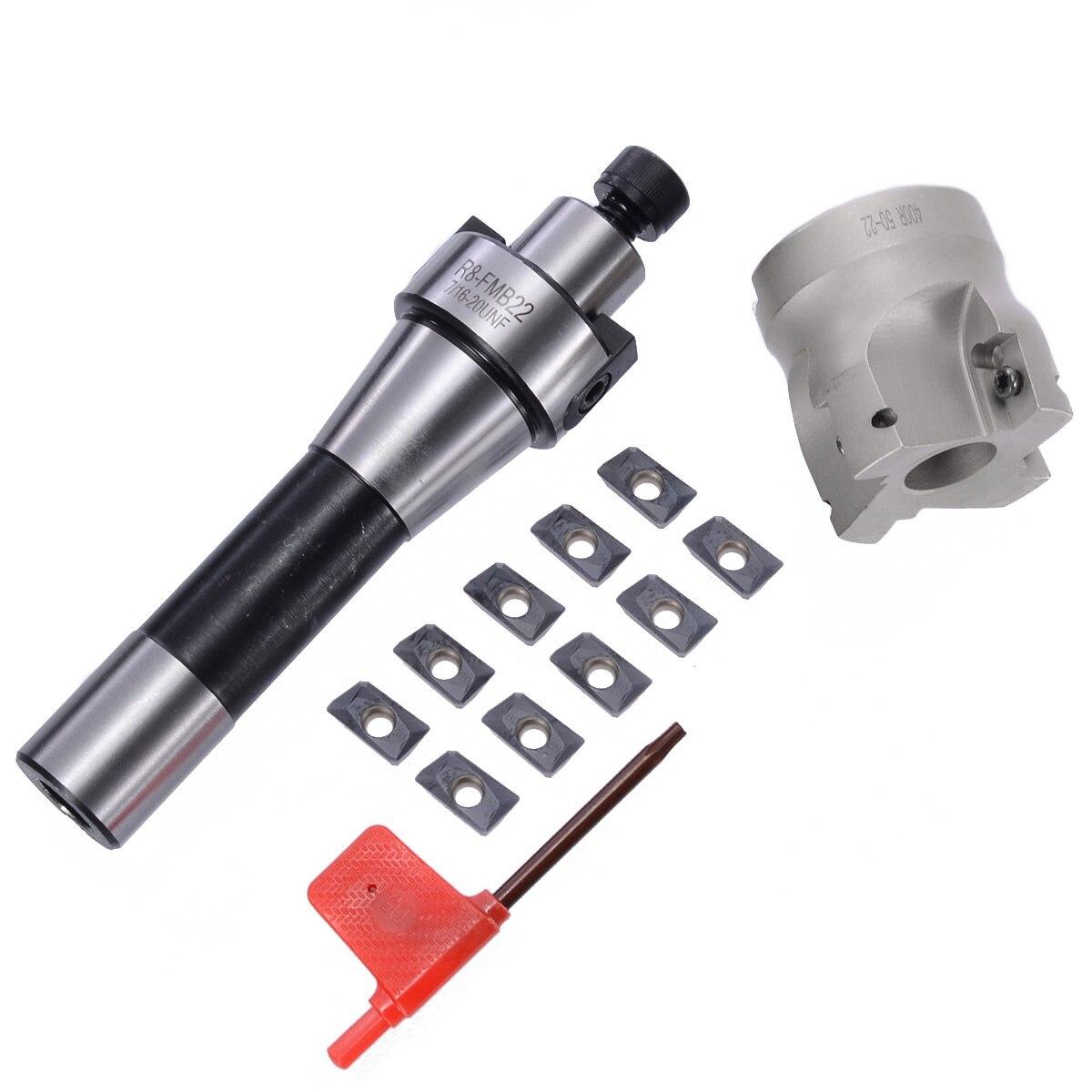 10 pièces APMT1604 Inserts + R8 Tige Tonnelle + 400R 50 MM Visage Fraise Kit Durable Plaque En Fonte Outil De Coupe