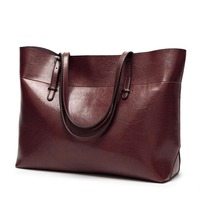 Genuine Leather Bag Handbags Vintage Women Leather Bag High Quality Casual Female Bags High capacity Shoulder Bag Ladies C832