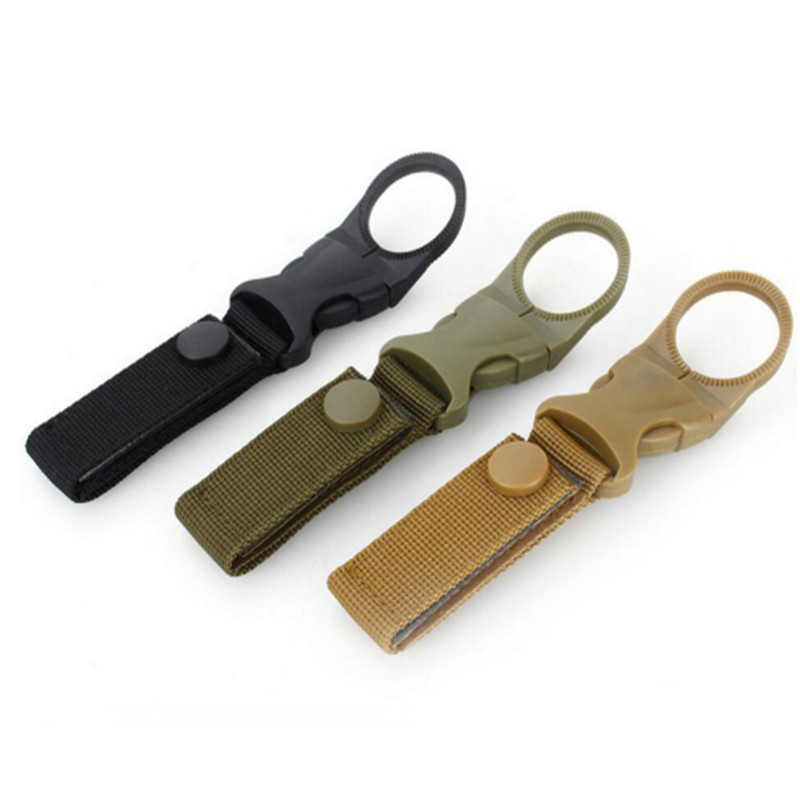 Hiking Military Nylon Webbing Buckle Hook Water Bottle Holder Clip Climbing Carabiner Belt Backpack Hanger Hooks Outdoor Tools