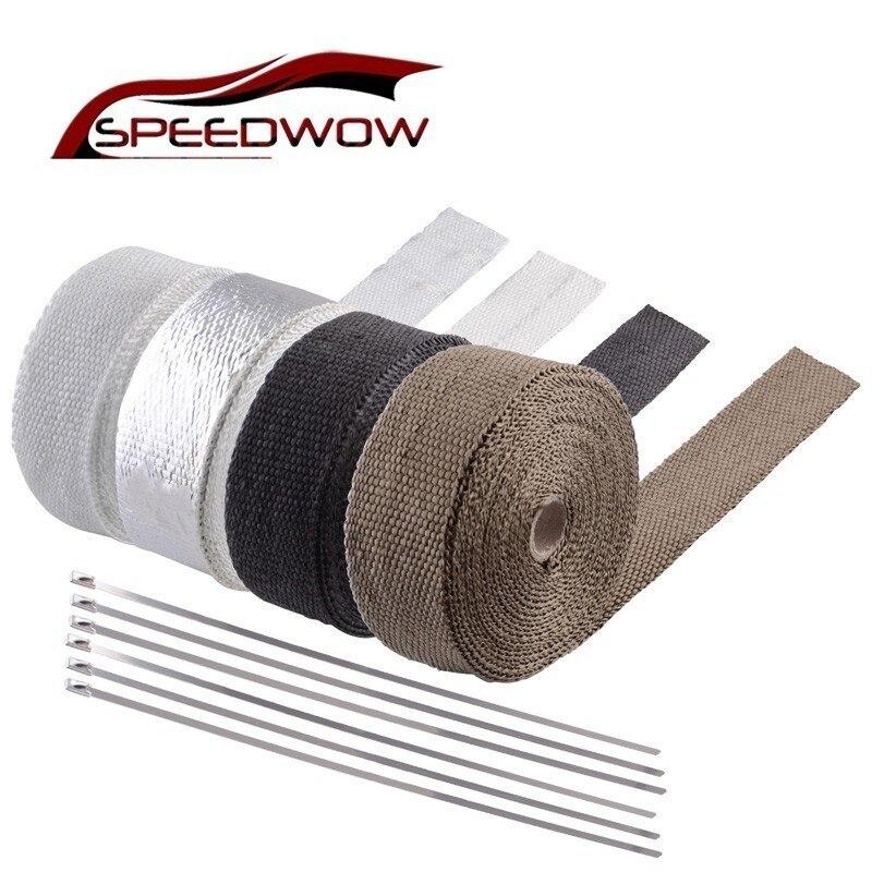 Fast 10m White Lava Exhaust//Header Pipe HeatShield Wrap Car//Motorcycle /& 5 Ties
