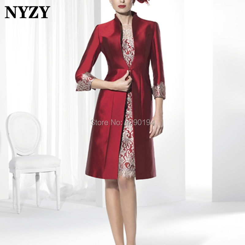 NYZY M140 Elegant Sheath 2 Tone Champagne Burgundy Mother Of The Bride Dresses Jacket Wedding Party Dress Church Suits 2019