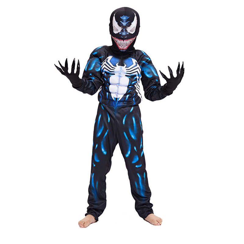 New Criança Chegada Preto Venom Spiderman Muscular Meninos Personagem do Filme Cosplay Superhero Halloween Carnaval Traje do Vestido Extravagante