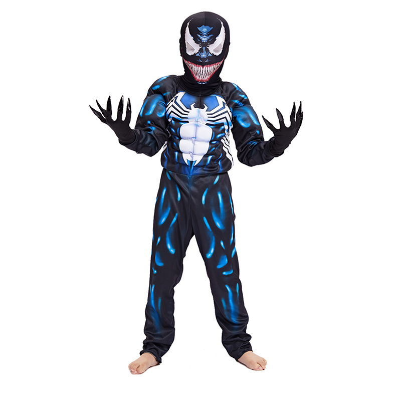 New Arrival Child Black Spiderman Boys Muscle Venom Movie Character Cosplay Superhero Halloween Carnival Fancy Dress Costume