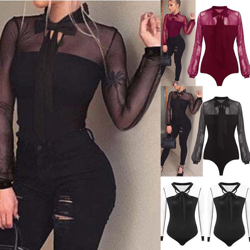 Womens Long Sleeves Tulle Mesh Lace Patchwork Bow Bandage Bodysuit Leotard Tops Jumpsuit