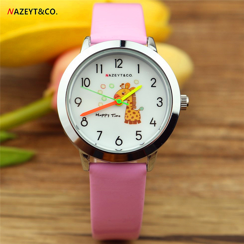 Free Shipping Nazeyt Children Cartoon Watch Lovely Giraffe Dial Little Student Boys Girls Quartz Leather Watch Reloj De Cuarzo
