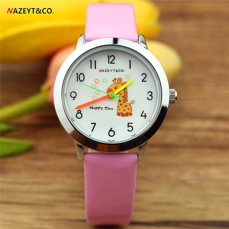 Free Shipping Nazeyt Children Cartoon Watch Lovely Giraffe Dial Little Student Boys Girls Quartz Leather Watch Reloj De Cuarzo