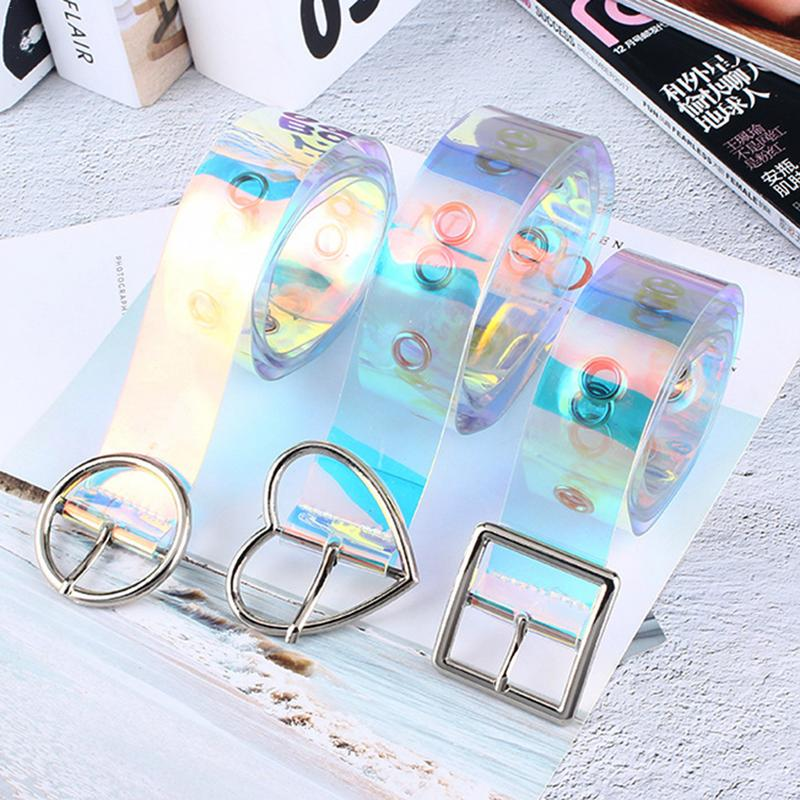 Casual Wild   Belt   Transparent   Belt   Women Cute All-matched Resin Plastic   Belt   Love Heart Shape Buckle Porous   Belt   New