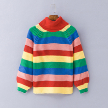 Autumn Winter Rainbow Turtleneck Sweaters Striped Oversized Pullover Ugly Christmas Sweater Jumper Casual Knitted