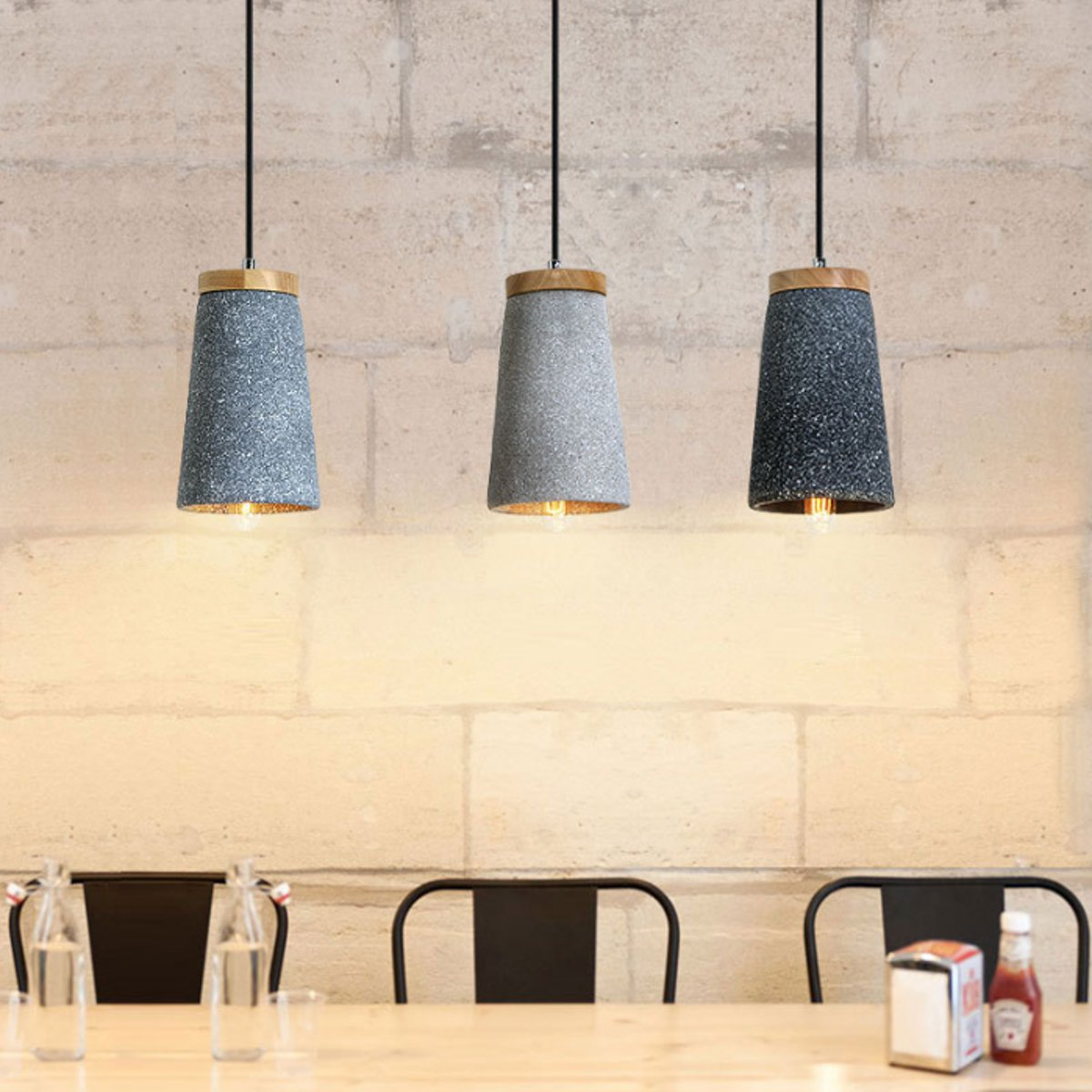 E27 Holder Concrete Pendant Light Kitchen Bar Bedroom Ceiling Lamp Home Decoration Indoor Lighting 2 ColorsE27 Holder Concrete Pendant Light Kitchen Bar Bedroom Ceiling Lamp Home Decoration Indoor Lighting 2 Colors
