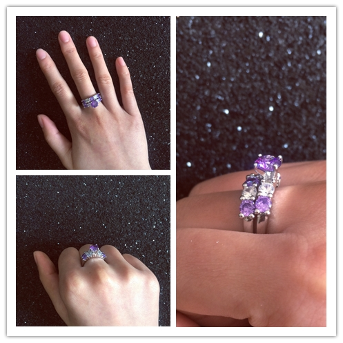 Huitan 2PC Fashion Ring Set with Purple Round Brilliant Cubic Zirconia Best Lover Gift Wedding Anniversary Rings for Women