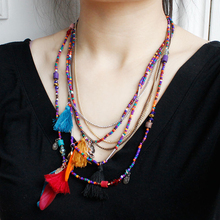 Bohemian Multi-layer long necklace Feather Beads Pendant necklace Statement Sweater chain Women's jewellery Clothing Accessories cute beads feather pendant design necklace for women