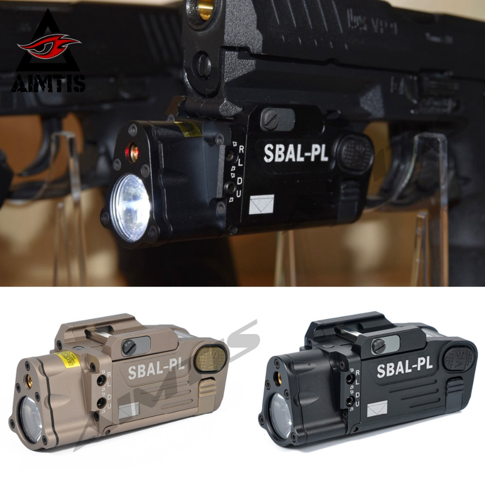 AIMTIS Tactical Laser Flashlight SBAL-PL Hunting Weapon Light Combo Red Laser Pistol Constant & Strobe Gun Light Picatinny Rail