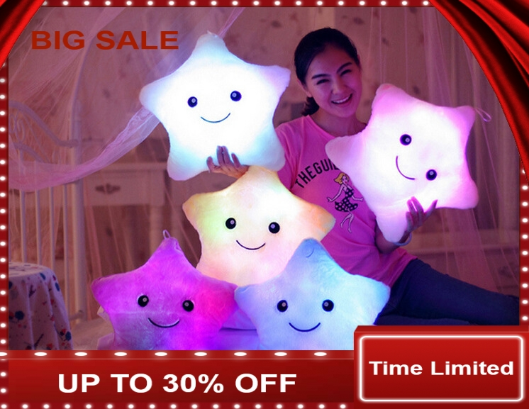 1pcs Colorful LED Night Flash Light Lucky Star Led Light Pillow For Kids Led Light Cushion With Musical Plug Baby Pillow