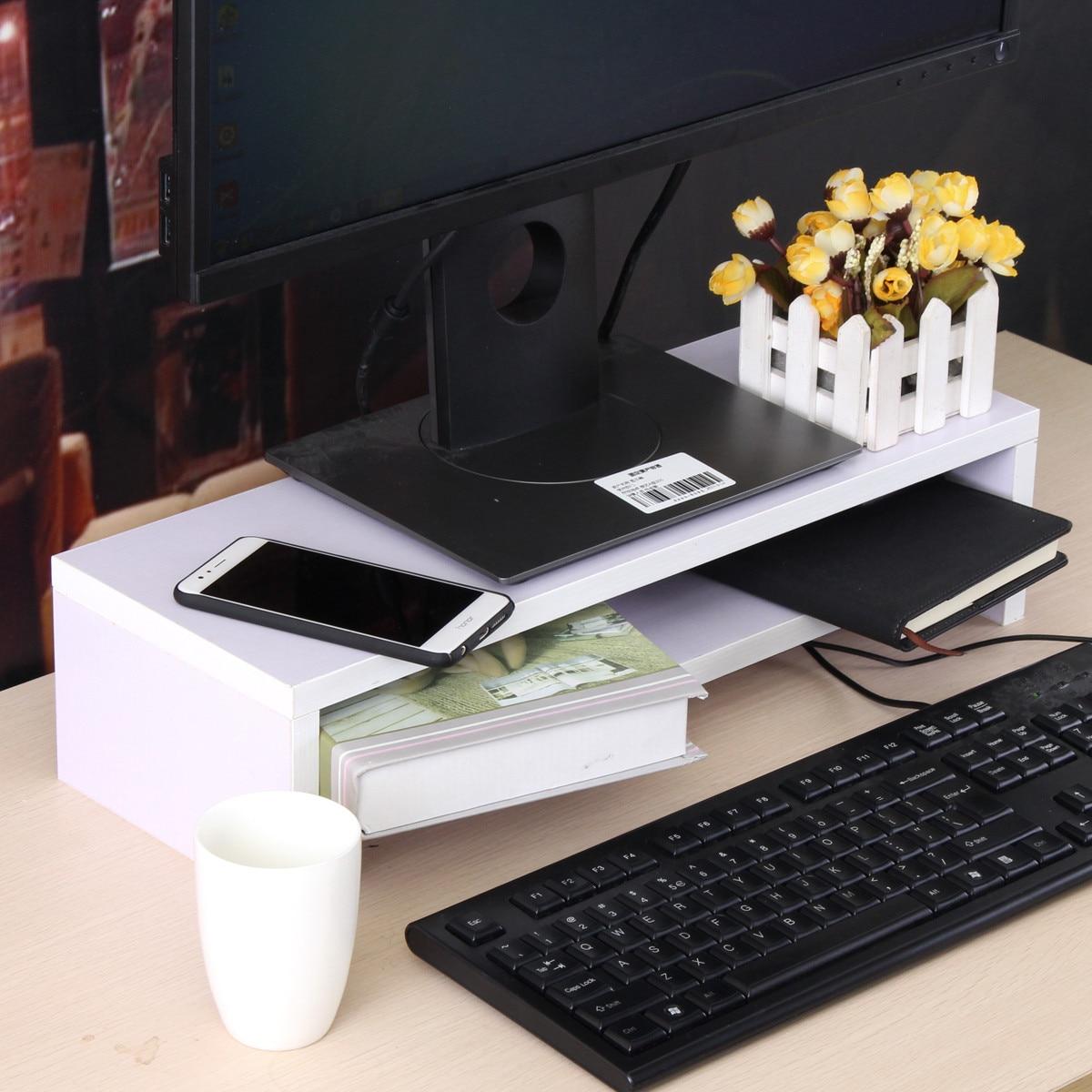 1 pièces 2 couches en bois moniteur support ordinateur moniteur Riser bois étagère plinthe bureau organisateur stockage 500x180x120mm