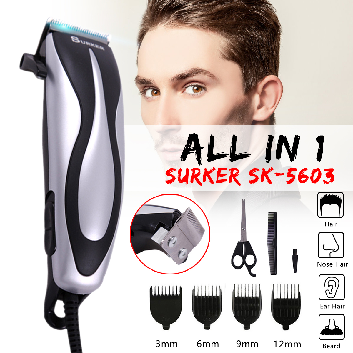 SURKER SK-5603 Electric Wire Hair Trimmer Professional Family Barber Haircut Machine Hair Clipper with Haircut Comb EU Plug new surker hc 575 rechargeable silent electric trimmer hair trimmer led display electric fader haircut machine with eu plug
