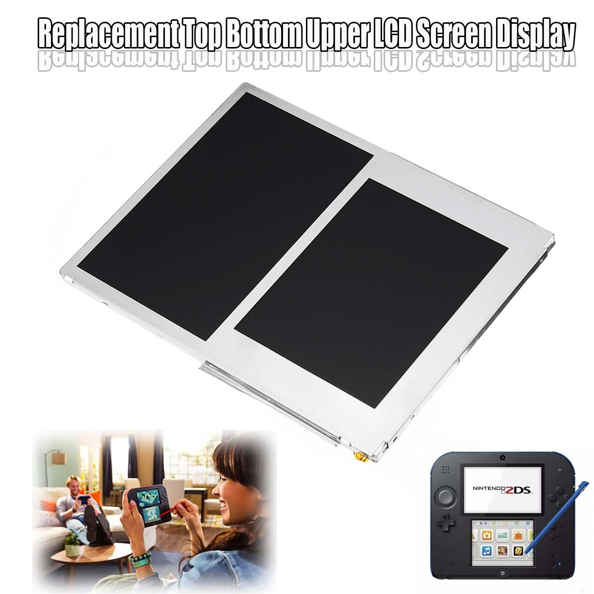 LCD Screen for 2DS Video Games Display Replacement Accessories Top Bottom Upper Lower LCD Screen Panel Only for 2DS 2013 image