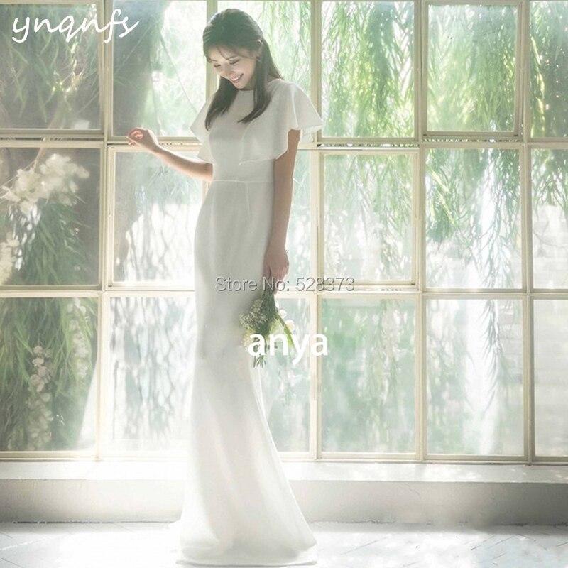 YNQNFS W103 élégant Cap manches 2019 robes de demoiselle d'honneur avec voile sirène Simple Boho robe de mariée robe formelle