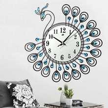 Роскошные Большие антикварные настенные часы с алмазным павлином для дома, офиса, гостиной, настенные часы, уникальный подарок, домашний декор, сделай сам, декор 37 см