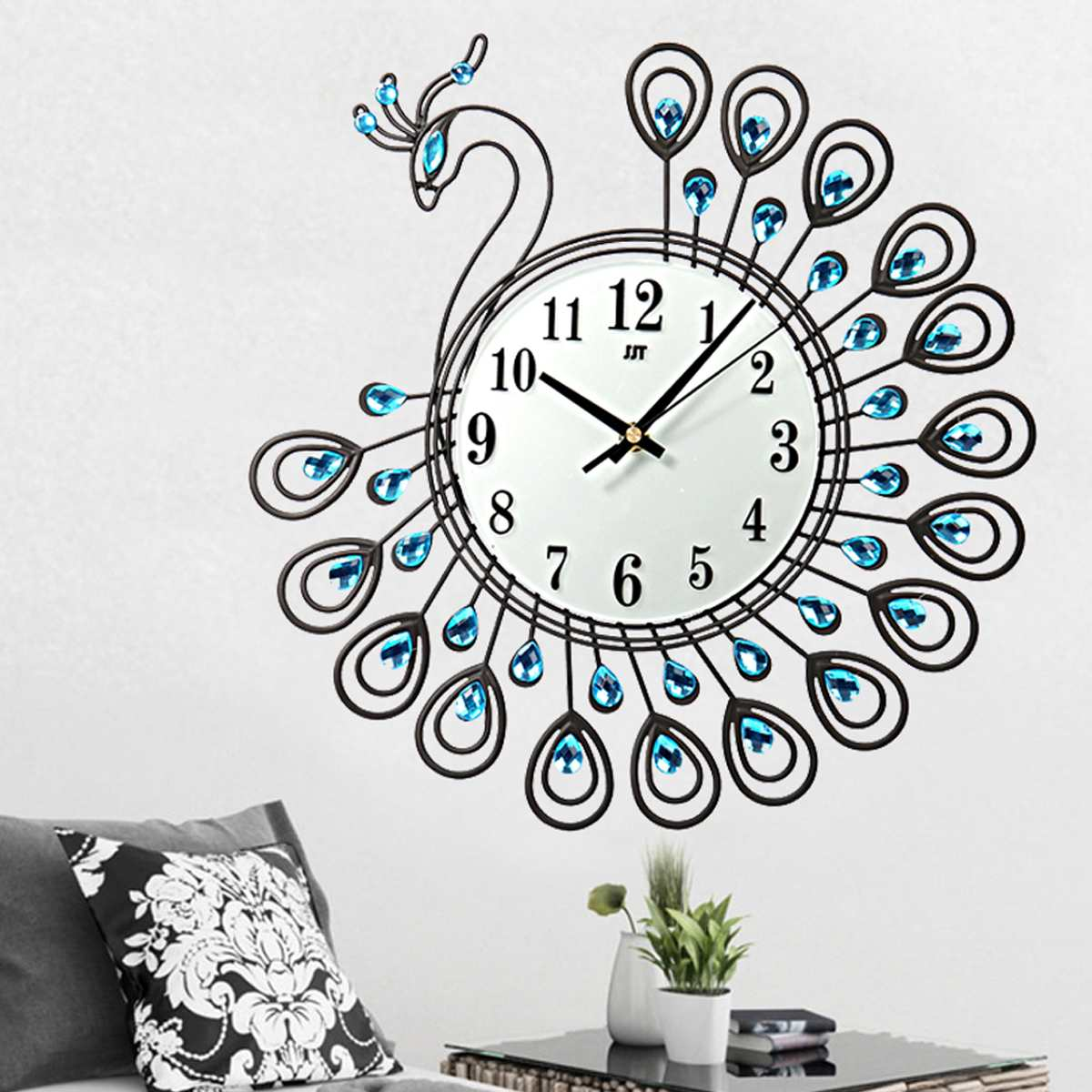 Luxury Large Antique Diamond Peacock Wall Clocks Home