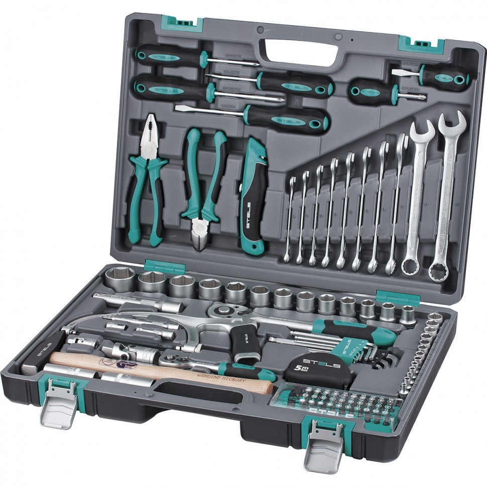 Hand Tool Sets STELS 1/2, 1/4, CrV, plastic case, 98 items 14111 запчасть stels chao yang 28 x 1 75