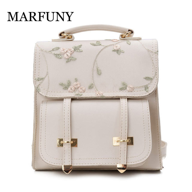 MARFUNY Fashion School Backpack Teenage Girls High Quality Leather Women Shoulder Bag Backpack Floral Embroidery Design Rucksack