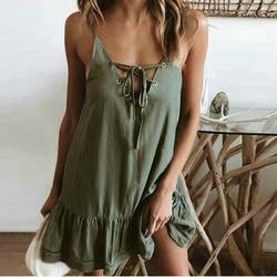 Kobiety sukienka z makaronem paski Lace-up Backless pasy suknie potargane Casual plaża luźne sukienka 2