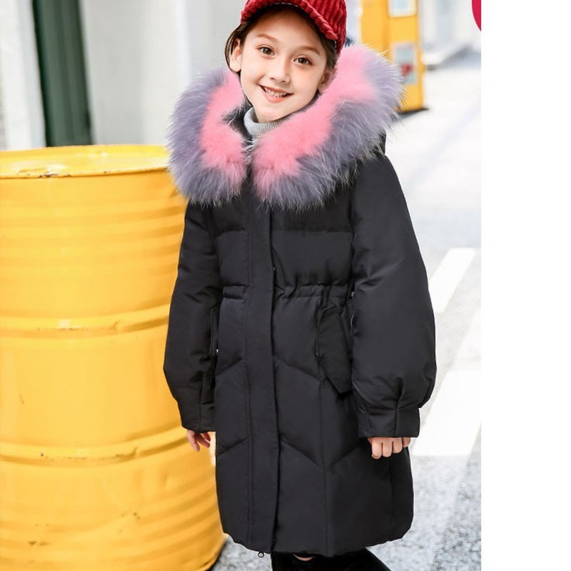 High Quality Girls Fur Hooded Down Jacket Zipper Winter Thick Coat For Girls Kids Solid Warm Jacket Casual Children's Outerwears 2016 new arrival men s winter jacket casual slim fit fashion solid hooded man jacket winter warm high quality m 4xl