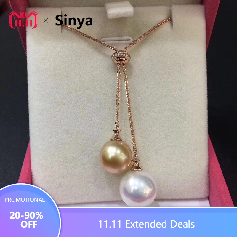 Sinya Edison golden and white pearls sweater chain 18k gold diamond necklace for Women lover Mum 2018 News Chain color optional bk 4371 18k alloy crystal artificial fancy color diamond pendant necklace golden 45cm