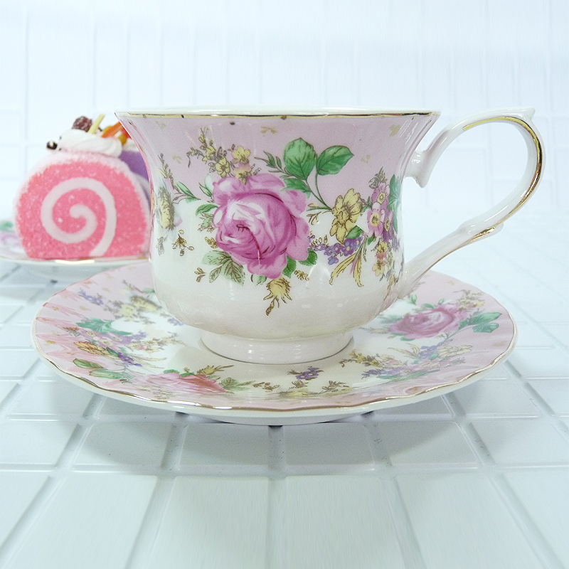 Ceremony tea set tea ceremony Pink rose flower painting A set of 12 pieces 220ml High quality bone china handmade Tea set in Teaware Sets from Home Garden